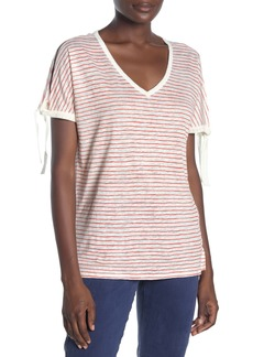 NYDJ Striped Tie Sleeve Linen T-Shirt