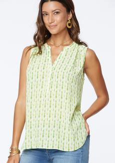 NYDJ The Sleeveless Perfect Blouse - Key Lime Tie Dye - S - Also in: XL, L, M, 3X
