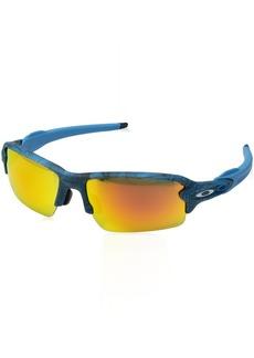 8984d17b18 Oakley Men s Flak 2.0 (a) Non-Polarized Iridium Rectangular Sunglasses AERO  Grid Sky