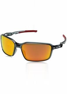 Oakley Men's Siphon Polarized Iridium Rectangular Sunglasses CRYSTAL BLACK 65.0 mm