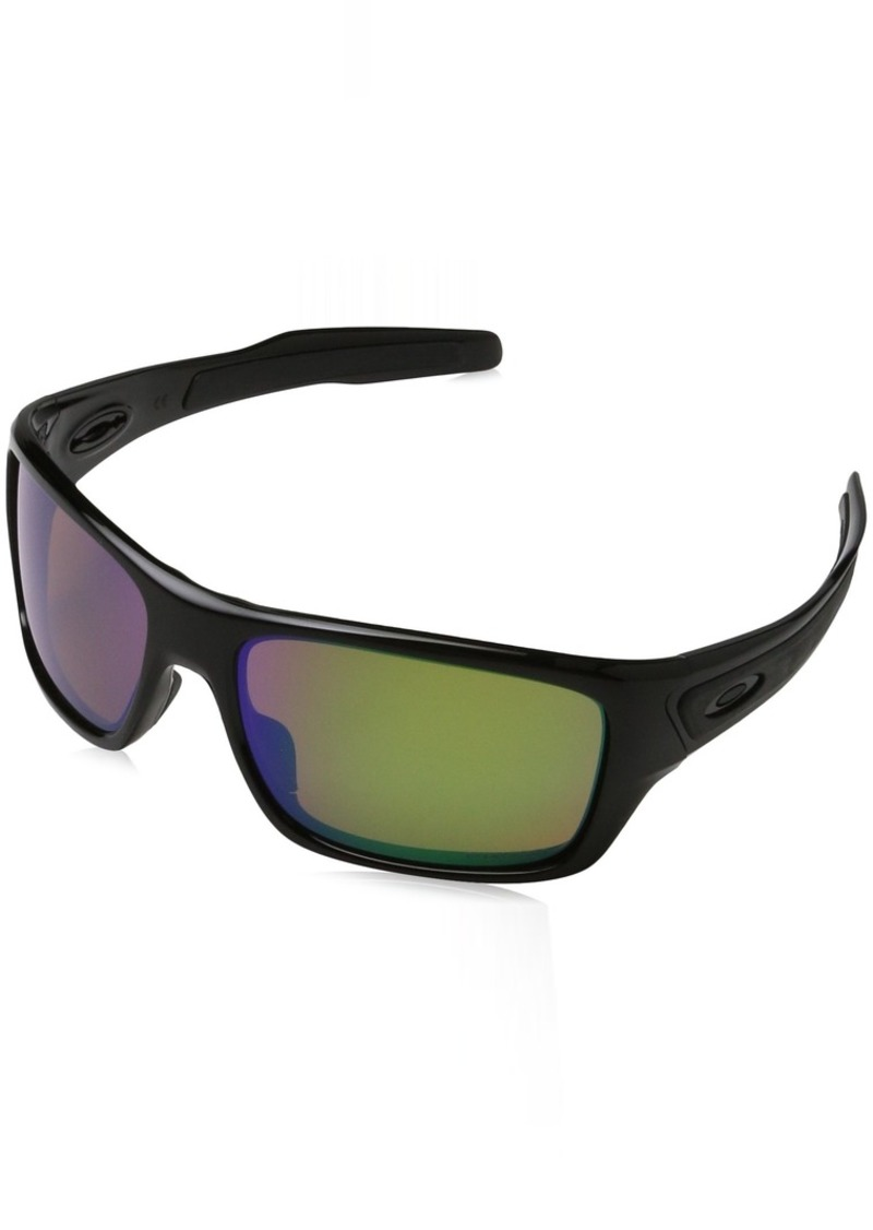 Oakley Men's Turbine Polarized Iridium Rectangular Sunglasses POLISHED BLACK 63.04 mm
