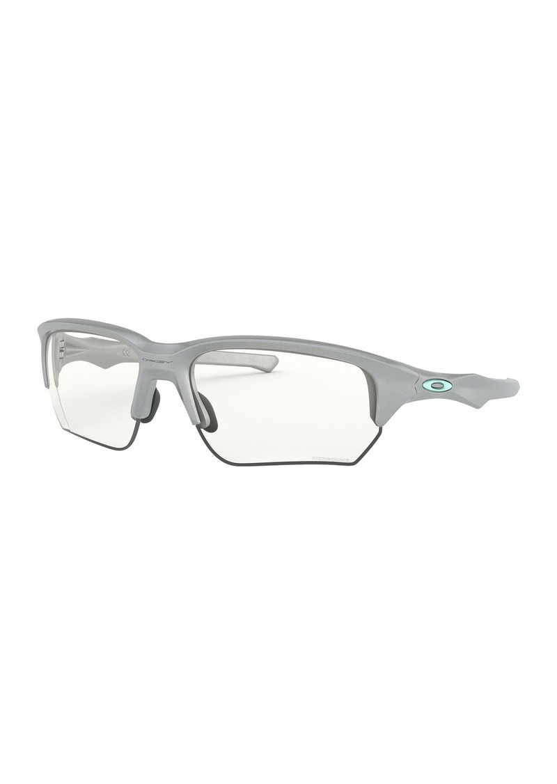 Oakley OO9372 Flak Beta Asian Fit Rectangular Sunglasses Silver/Clear-Black Photochromic 65 mm