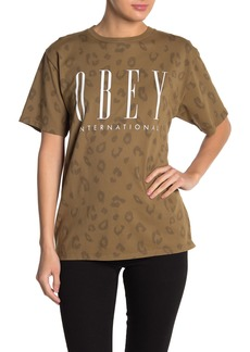 Obey Leopard Print Front Text T-Shirt