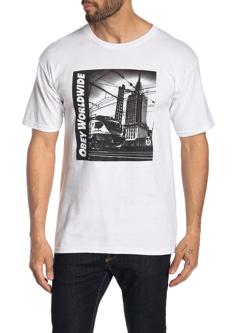 Obey Moscow Icon Train Graphic Print T-Shirt