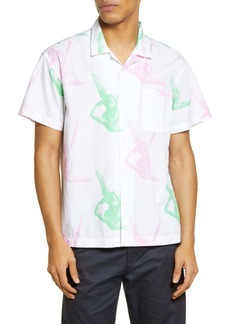 Obey Angelito Short Sleeve Organic Cotton Button-Up Camp Shirt