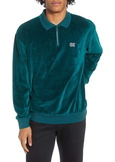 Obey Buster Long Sleeve Zip Velour Polo