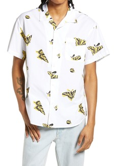 Obey Butterfly Slim Fit Short Sleeve Button-Up Shirt