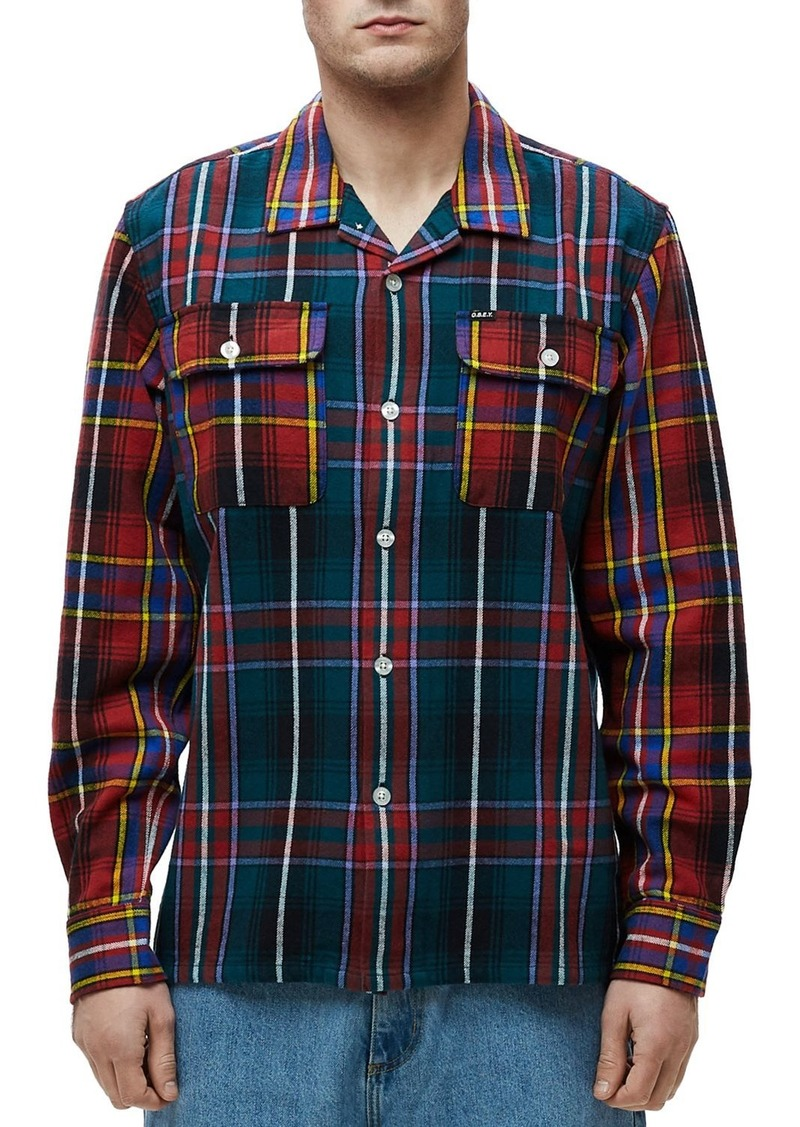 OBEY Capital Woven Plaid Regular Fit Button-Down Shirt
