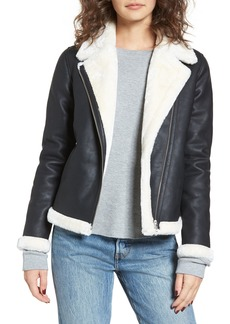 Obey Chloé Faux Leather Moto Jacket with Faux Fur Trim