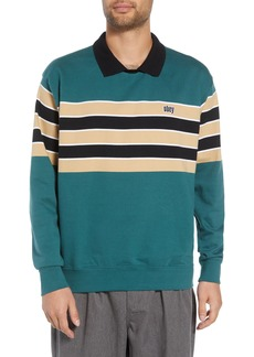Obey Cupid Striped Polo Collar Sweatshirt