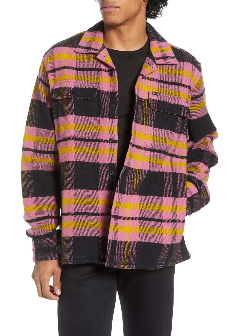 Obey Fitzgerald Plaid Button-Up Flannel Shirt Jacket