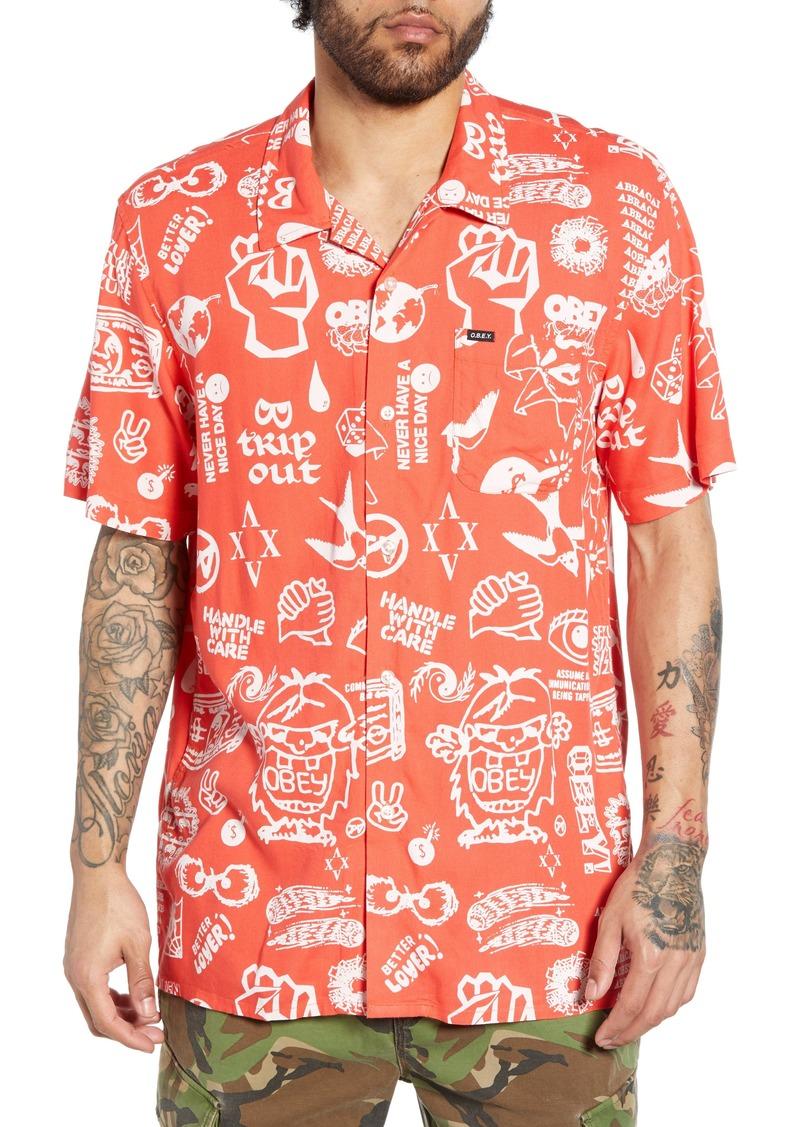 Obey Flash Print Camp Shirt