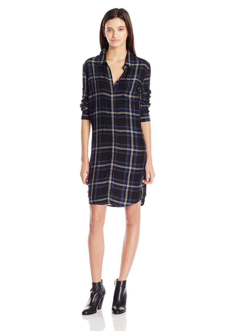 OBEY Junior's Ammalyn Button Down Plaid Shirt Dress  M