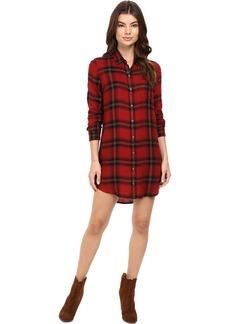 Obey Junior's Ammalyn Button Down Plaid Shirt Dress  XS