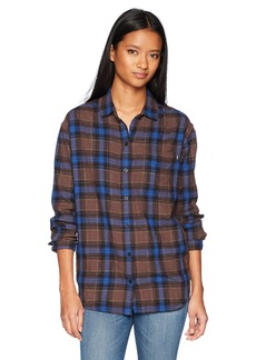 Obey Junior's Eldorado Boyfriend Fit Button Down Flannel Shirt  M