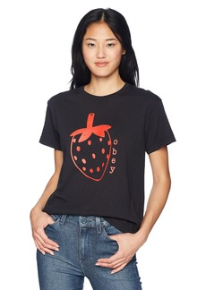 Obey Junior's LO-FI Strawberry Premium Boyfriend FIT Tshirt Off  XS