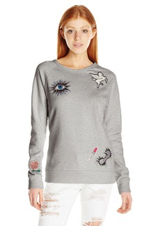 Obey Junior's Patched Comfy Creatures Crew Neck Fleece Sweatshirt  M