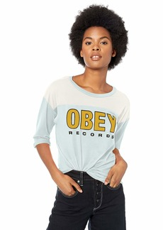 Obey Junior's Records 2 Football Jersey 3/4 Sleeve TEE Baby Blue/CRÈAM