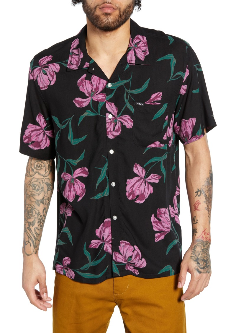 Obey Lily Print Camp Shirt