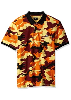 Obey Men's All Eyez CAMO Short Sleeve Polo Shirt Field Orange L