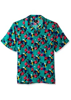 OBEY Men's ASHED Out Short Sleeve Button UP Woven  L