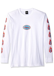 Obey Men's Creeper Flame Heavyweight Long Sleeve T-Shirt  L