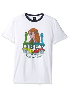 Obey Men's Fast and Loose Premium Contrast Tee White/Navy