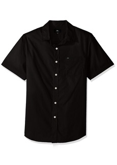 OBEY Men's Lou Woven Short Sleeve Button up Shirt