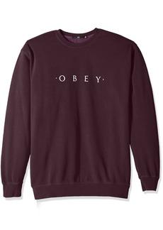Obey Men's Novel Basic Crew Neck Fleece Sweatshirt  XL