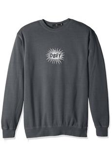 Obey Men's Spazz Basic Crew Neck Fleece Sweatshirt  XL