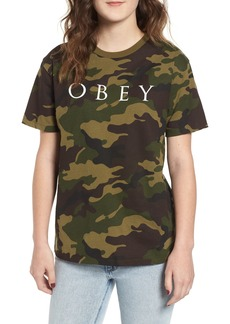 Obey Novel Logo Camo Cotton Tee