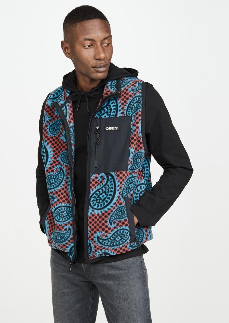 Obey Paisley Mock Neck Fleece Vest