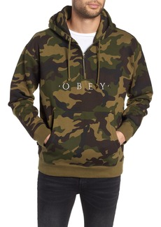 Obey Reason Anorak Half Zip Embroidered Hoodie