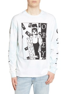 Obey Surrounded Bleach Long Sleeve Graphic T-Shirt
