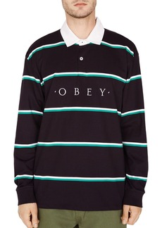 OBEY Washer Long-Sleeve Striped Classic Fit Polo Shirt