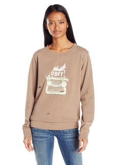 OBEY Junior's All Work Crew Neck Sweatshirt  L