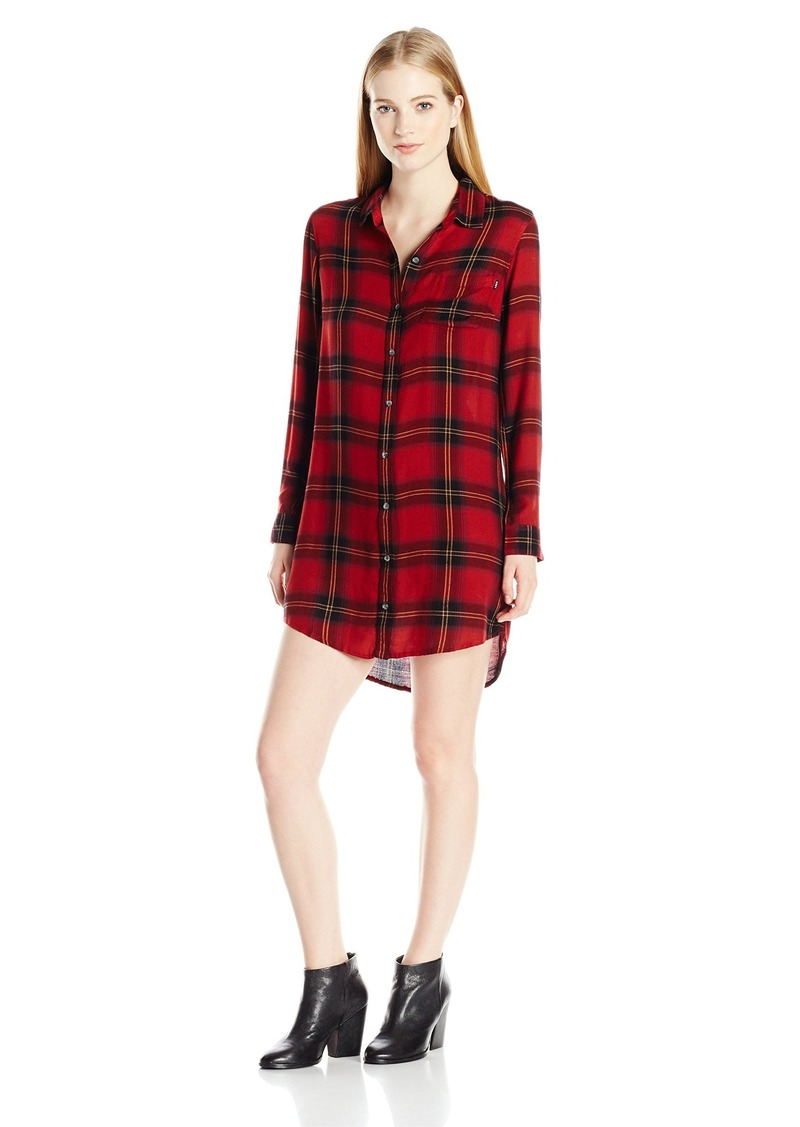 OBEY Women's Ammalyn Button Down Plaid Shirt Dress  L