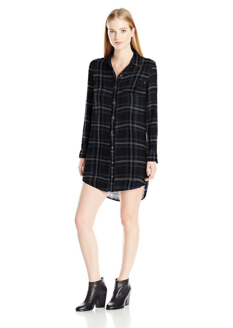 OBEY Junior's Ammalyn Button Down Plaid Shirt Dress  S