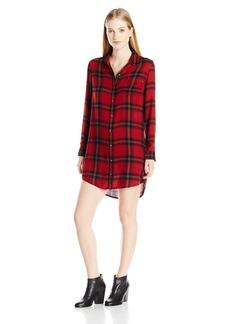 OBEY Women's Ammalyn Button Down Plaid Shirt Dress  M