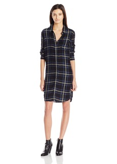 OBEY Women's Ammalyn Button Down Plaid Shirt Dress  XS