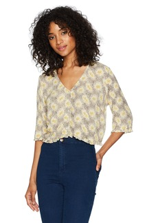 OBEY Women's Hattie Button Front Shirt  L