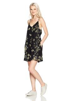 Obey Women's Hattie Button Front Strappy Dress  L