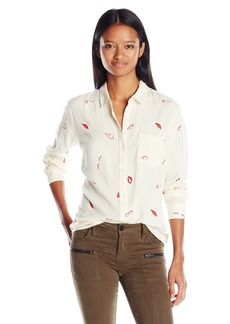 OBEY Women's Just Kids Classic Fit Button Down Blouse