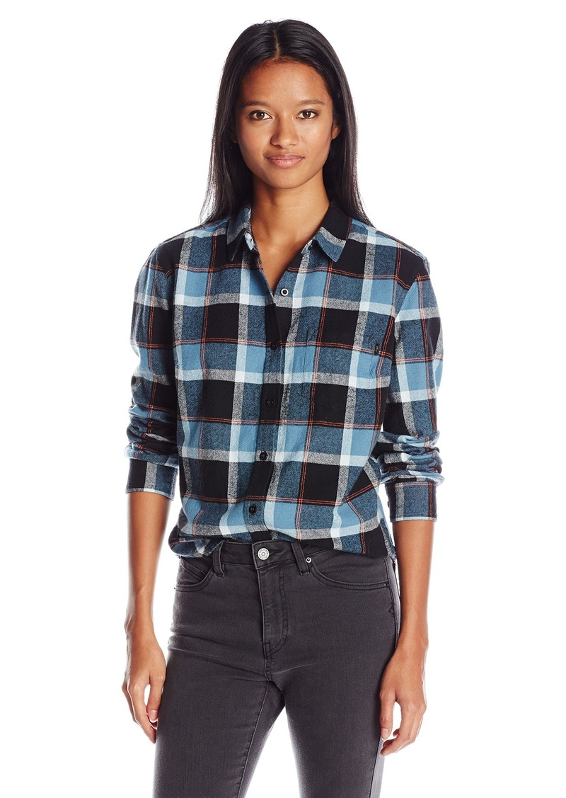 Obey obey women 39 s ruby lake classic tailored fit plaid for Women s slim fit flannel shirt
