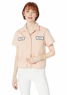 OBEY Womens Static Work Button Down Shirt  MEDIUM