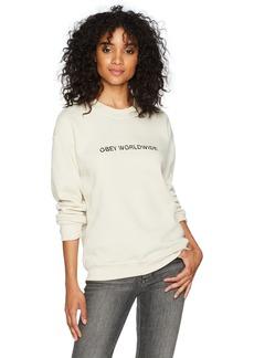 Obey Women's Static Worldwide Crewneck Fleece Sweatshirt  M