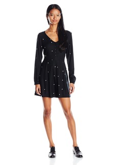 OBEY Women's Tyler Long Sleeve Fit and Flare Dress