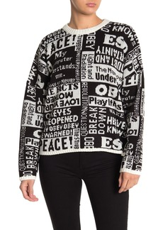 Obey Post Crew Printed Knit Sweater
