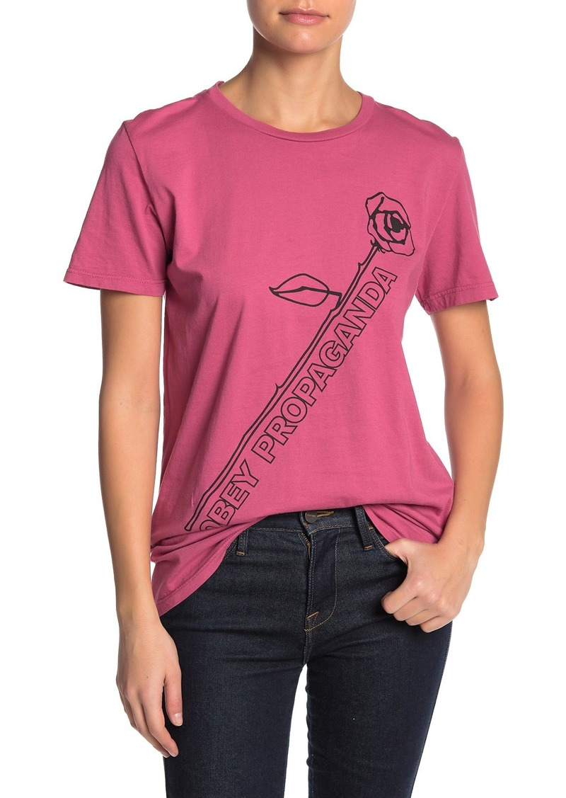 Obey Rose Stem Logo Graphic T-Shirt