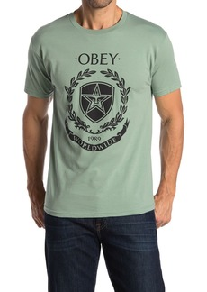 Obey Shield Wreath Graphic Print T-Shirt